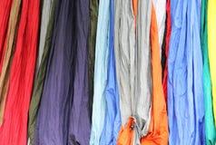 Sélection des couleurs des tissus en nylon Image stock