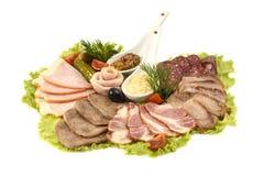 Sélection des jambons et de salami Image stock