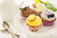 Sélection des petits gâteaux colorés, fond blanc images libres de droits