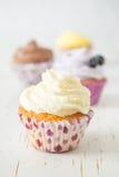 Sélection des petits gâteaux colorés, fond blanc photographie stock