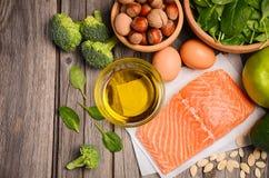 Sélection des produits sains Concept d'alimentation équilibrée Images libres de droits