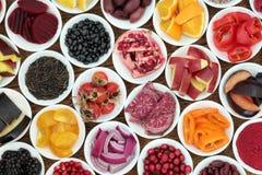 Sélection superbe de nourriture biologique d'anthocyanine Photographie stock