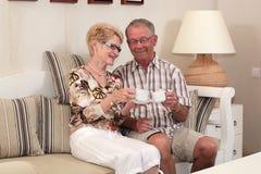 Séniores felizes em casa foto de stock