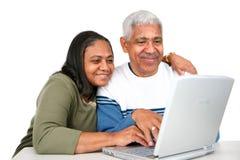 Séniores no computador Imagens de Stock Royalty Free