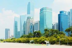 SÉOUL, CORÉE - 14 AOÛT 2015 : Île de Yeouido - finances du ` s de Séoul et domaine principaux d'opérations bancaires d'investisse images stock