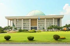 SÉOUL, CORÉE - 14 AOÛT 2015 : Assemblée nationale Hall de marche à suivre - bâtiment sud-coréen de capitol situé sur l'île de Yeo Photographie stock libre de droits