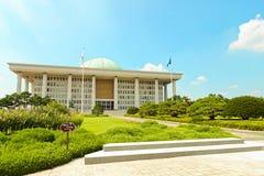 SÉOUL, CORÉE - 14 AOÛT 2015 : Zone de photo du bâtiment de marche à suivre de Hall d'Assemblée nationale - capitol sud-coréen - s Photographie stock libre de droits