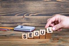 Séoul, une ville en Corée du Sud où beaucoup de millions de personnes vivent Photos stock
