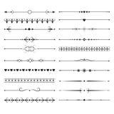 Séparateurs de lignes vintage avec les éléments fleuris Ensemble ornemental de vecteur de diviseurs illustration libre de droits