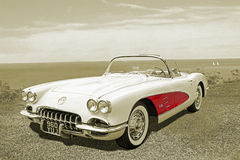 Sépia classique de Chevrolet Corvette de vintage images libres de droits