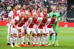 Série éliminatoire de ligue de champions d'UEFA troisième entre Ajax contre PAO Photos stock
