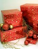 Série 1 dos presentes de Natal - caixas e Ornaments7 Fotografia de Stock