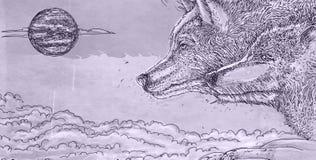 Série animal realística para bandeiras, uma pantera, dois lobos que urram na lua Imagem de Stock