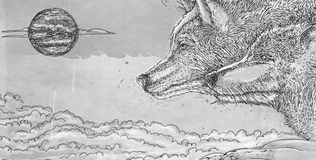 Série animal realística para bandeiras, uma pantera, dois lobos que urram na lua Imagens de Stock