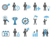 Série bleue réglée par icônes de métaphore d'affaires Photographie stock