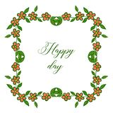 Série bonita da ilustração do vetor de quadros da flor para o casamento feliz do dia do cartão ilustração do vetor