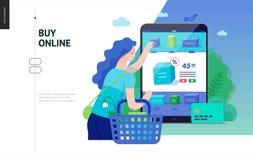 Série d'affaires - achetez le calibre en ligne de Web de boutique illustration stock