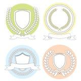Série d'ensemble de Laurel Leaf Wreath And Shields illustration stock