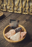 Série d'Onsen : onsen l'équipement Photographie stock