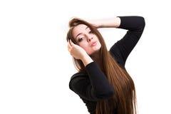 Série da emoção de menina ucraniana nova e bonita - levantando foto de stock royalty free