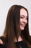 Série da emoção de menina ucraniana nova e bonita - riso e happyness fotografia de stock