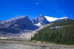 Série da montanha, montanha da neve, geleira e céu azul de lado a via pública larga e urbanizada para o parque nacional de jaspe imagens de stock