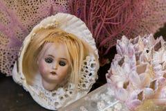 Série da nostalgia - a cabeça e o mar antigos da boneca descascam a vida imóvel imagens de stock royalty free