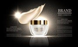 Série de beauté de cosmétiques, crème corporelle de la meilleure qualité pour des soins de la peau et calomnie de maquillage de l illustration de vecteur