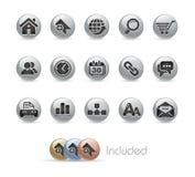 Série de bouton en métal de // de site Web et d'Internet Images libres de droits