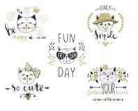 Série de carte de vecteur avec les chats mignons de mode photographie stock