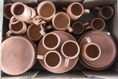Série de conception faite main traditionnelle de tasse de café turc d'argile images stock