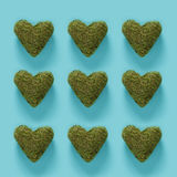 Série de corações verdes do musgo no azul Foto de Stock Royalty Free