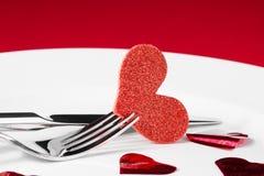 Série de dîner de Saint Valentin sur le fond rouge Photo libre de droits