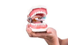 Série de dentista que mostra o método correto de escovar os dentes fotos de stock royalty free
