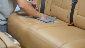 Série de detalhe do carro: Banco de carro da limpeza filme
