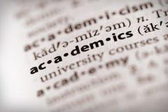 Série de dictionnaire - l'information : universitaires image stock