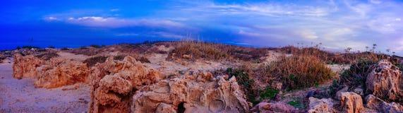 Série de Holyland - panorama da praia de Palmachim imagem de stock