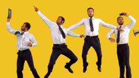 Série de homem de negócios de salto no movimento lento filme