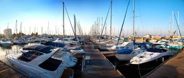 Série de imagens panorâmicos do porto com ya fotografia de stock