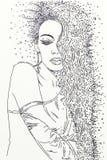 Série de mulheres tiradas em retratos dos desenhos animados, com a areia em seu cabelo Fotos de Stock