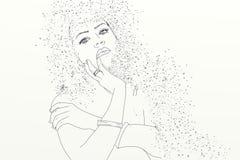Série de mulheres tiradas em retratos dos desenhos animados, com a areia em seu cabelo Fotografia de Stock