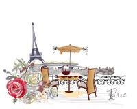 Série de opiniões e de rosas dos cafés da rua A torre Eiffel ilustração do vetor