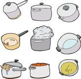 Série de pots de cuisine Photos libres de droits