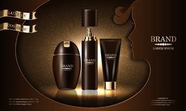 Série de produit de beauté de cosmétiques, shampooing de la meilleure qualité de crème de jet de corps pour des soins de la peau, illustration libre de droits