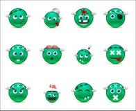 Série de zombis de style smilies verts Photographie stock libre de droits