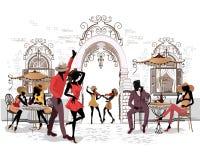 Série des rues avec des musiciens et de couples de danse dans la vieille ville illustration libre de droits