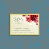 Série do cartão de RSVP com quadro do cravo da aquarela Fotos de Stock Royalty Free