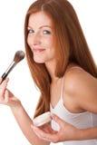 Série do cuidado do corpo - mulher que aplica o pó Imagem de Stock Royalty Free