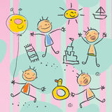Série do desenho das crianças Imagens de Stock Royalty Free