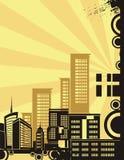 Série do fundo da cidade do nascer do sol Fotografia de Stock Royalty Free